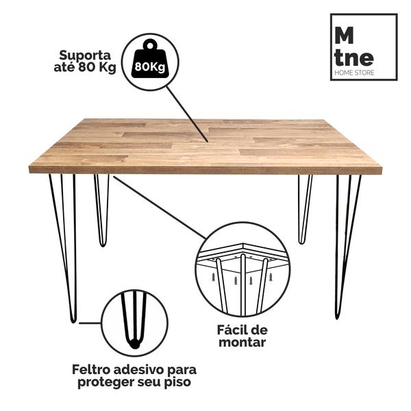 Mesa de Jantar Western com Hairpin Legs e Tampo 100% MDF (Não acompanham cadeiras)  - Mtne Store