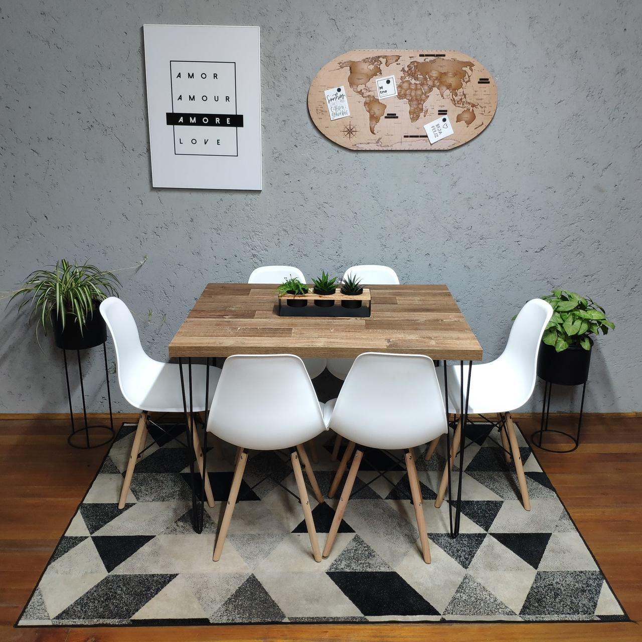 Mesa de Jantar Western Hairpin Legs 90x140 com 6 Cadeiras Eames Brancas