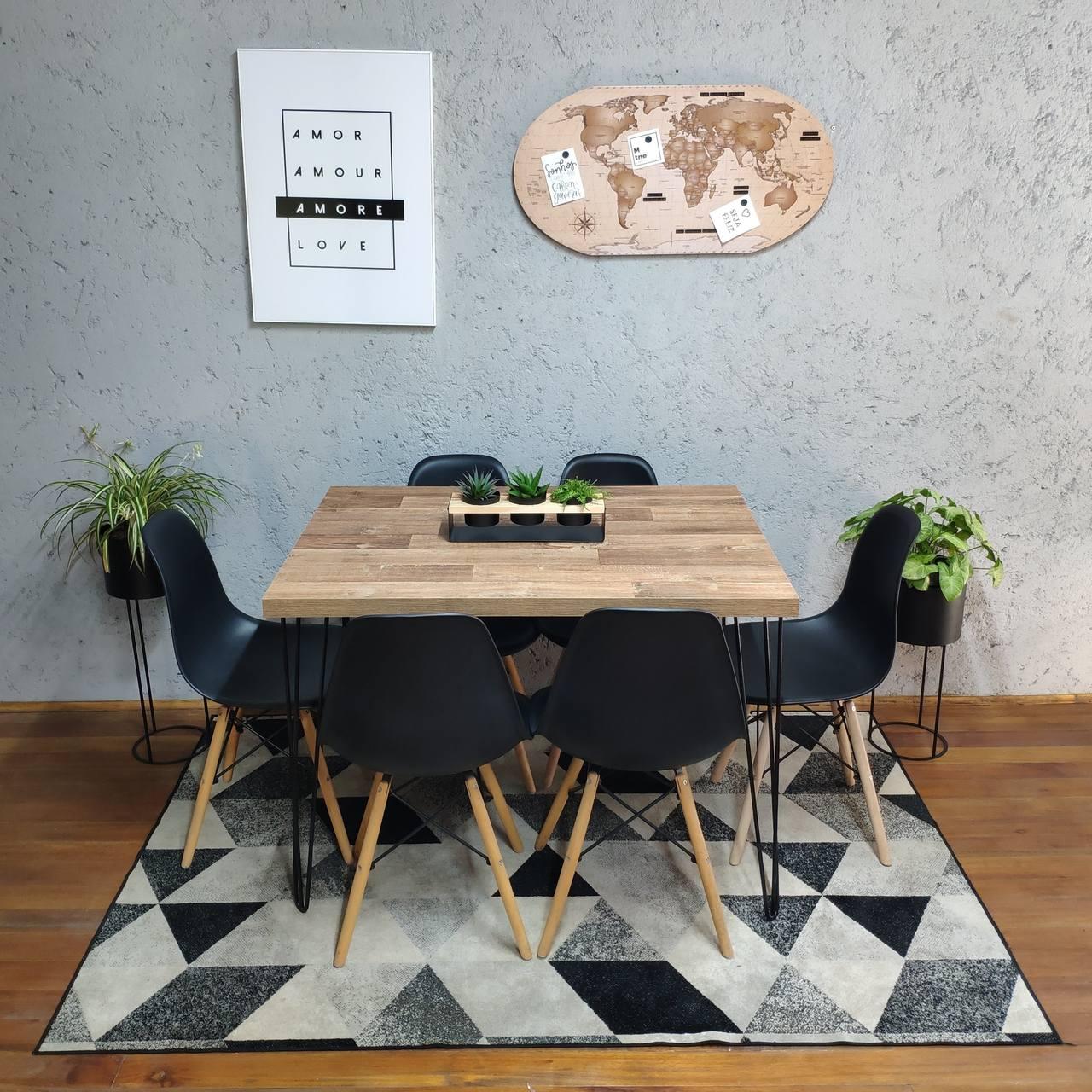 Mesa de Jantar Western Hairpin Legs 90x150 com 6 Cadeiras Eames Pretas