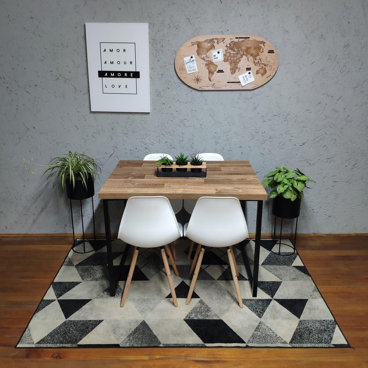 Mesa de Jantar Western Squared Legs 4 lugares com 4 Cadeiras Brancas