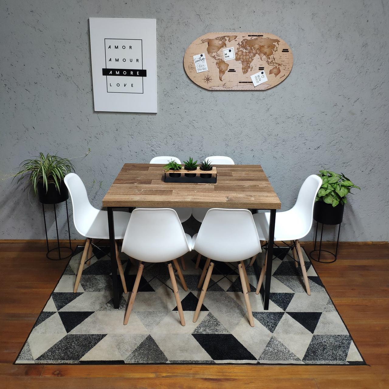 Mesa de Jantar Western Squared Legs 90x140 com 6 Cadeiras Eames Brancas