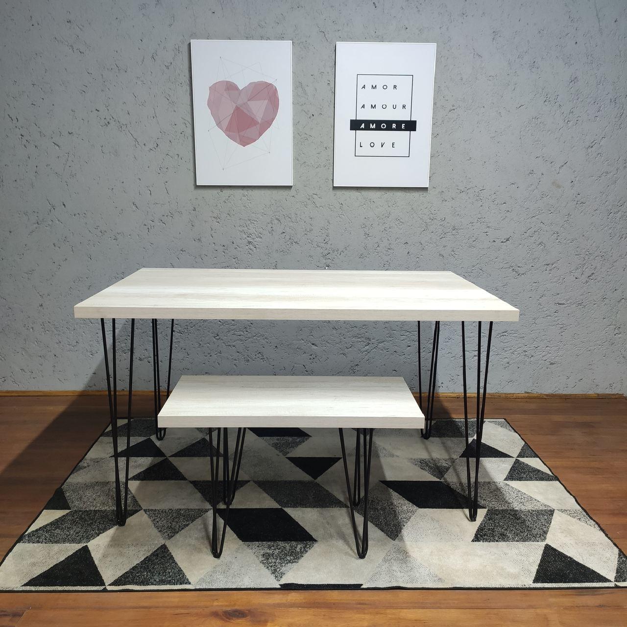 Mesas de Jantar e Banco sob medida com Hairpin Legs e Tampo 100% MDF  - Mtne Store