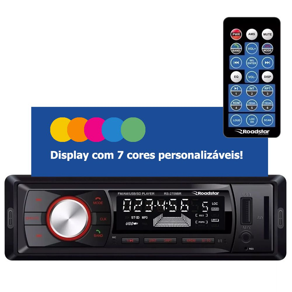 Radio Automotivo Roadstar RS2709BR AM/FM Bluetooth   - JPARTS BRASIL