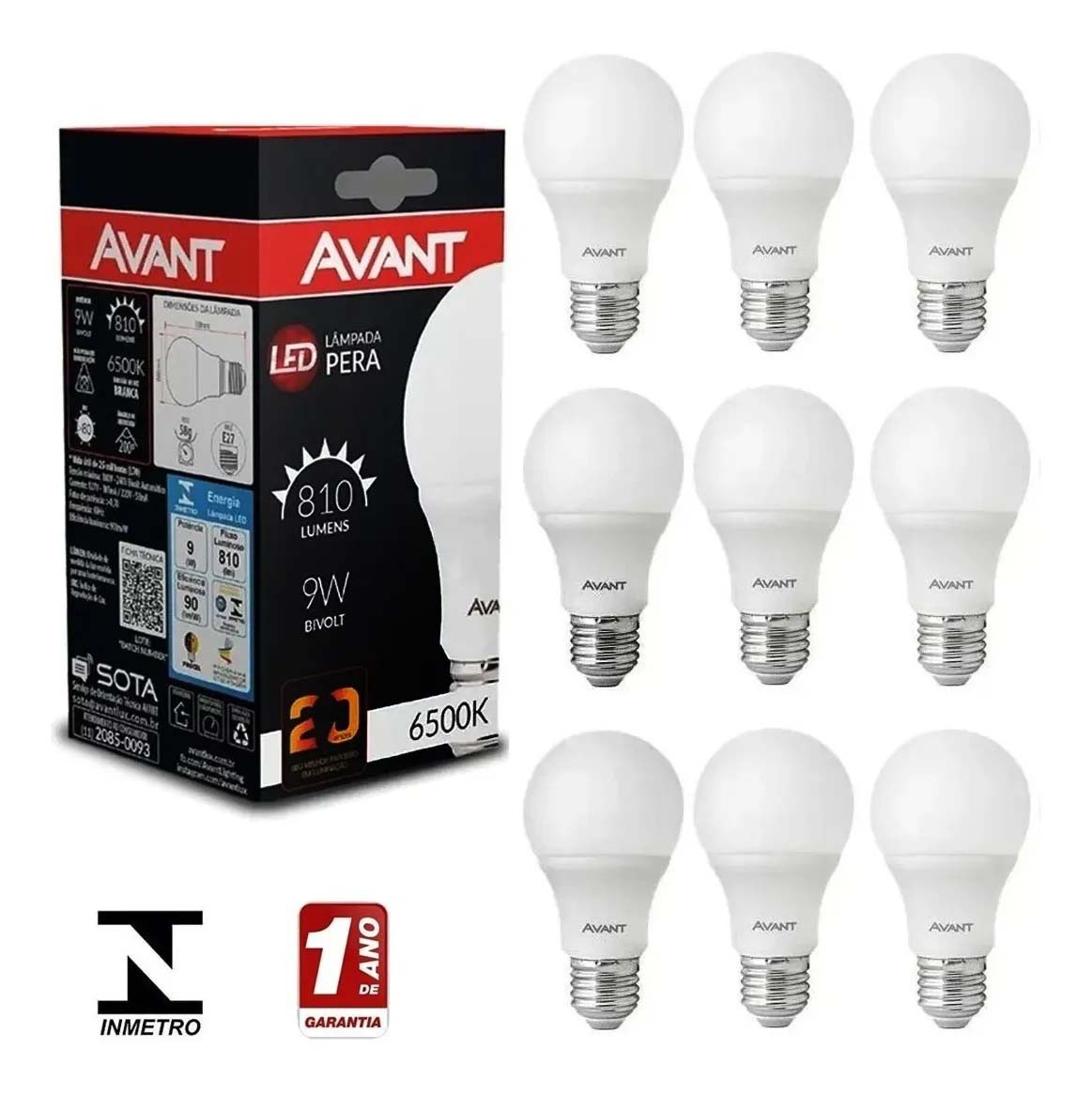 Kit 10 lâmpadas LED bulbo Avant 9W