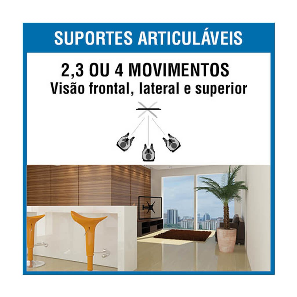 """SUPORTE TV LCD 10""""-55"""" TRI ARTICULADO BRA4.0"""
