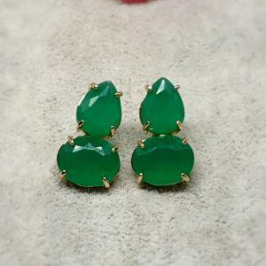 Brinco Semijoia de Cristal Verde em Gota e Oval 3409