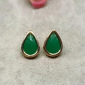 Brinco Semijoia Gotas Cristal Verde