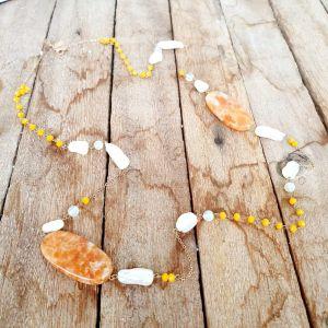 Colar semijoia longo perolas cristal amarelo 2524