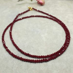 Corrente semijoia cristal Vermelho longo 1514