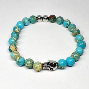 Pulseira Masculina bolas azuis detalhe aço 5010199030