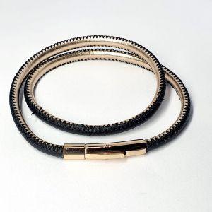 Pulseira Masculina de aço com couro Dourado com 2 voltas 2700751