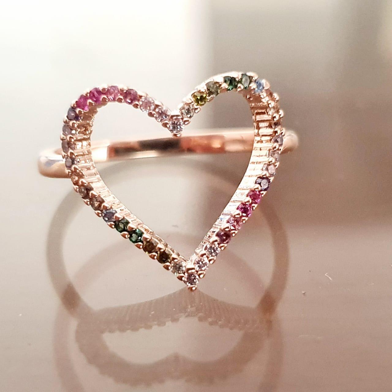 Anel semijoia coração com zirconias coloridas 137157