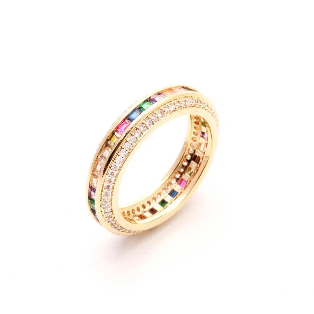 Anel semijoia rainbow com zirconia  137310