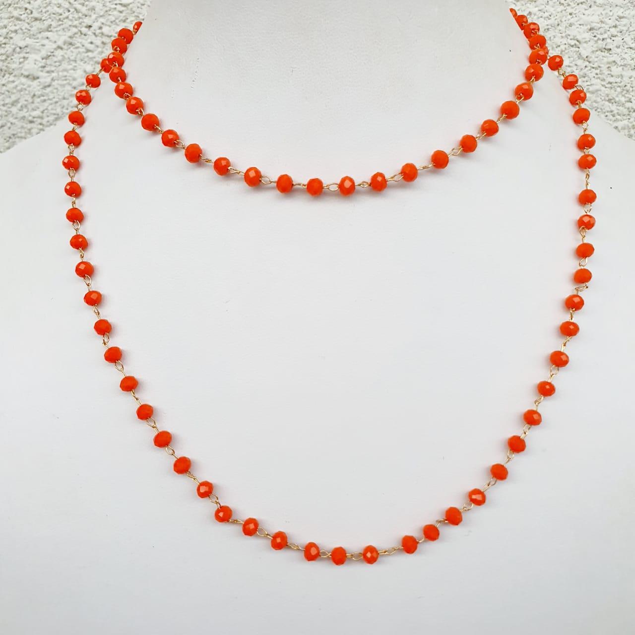 Colar semijoia cristais Laranja longo 519