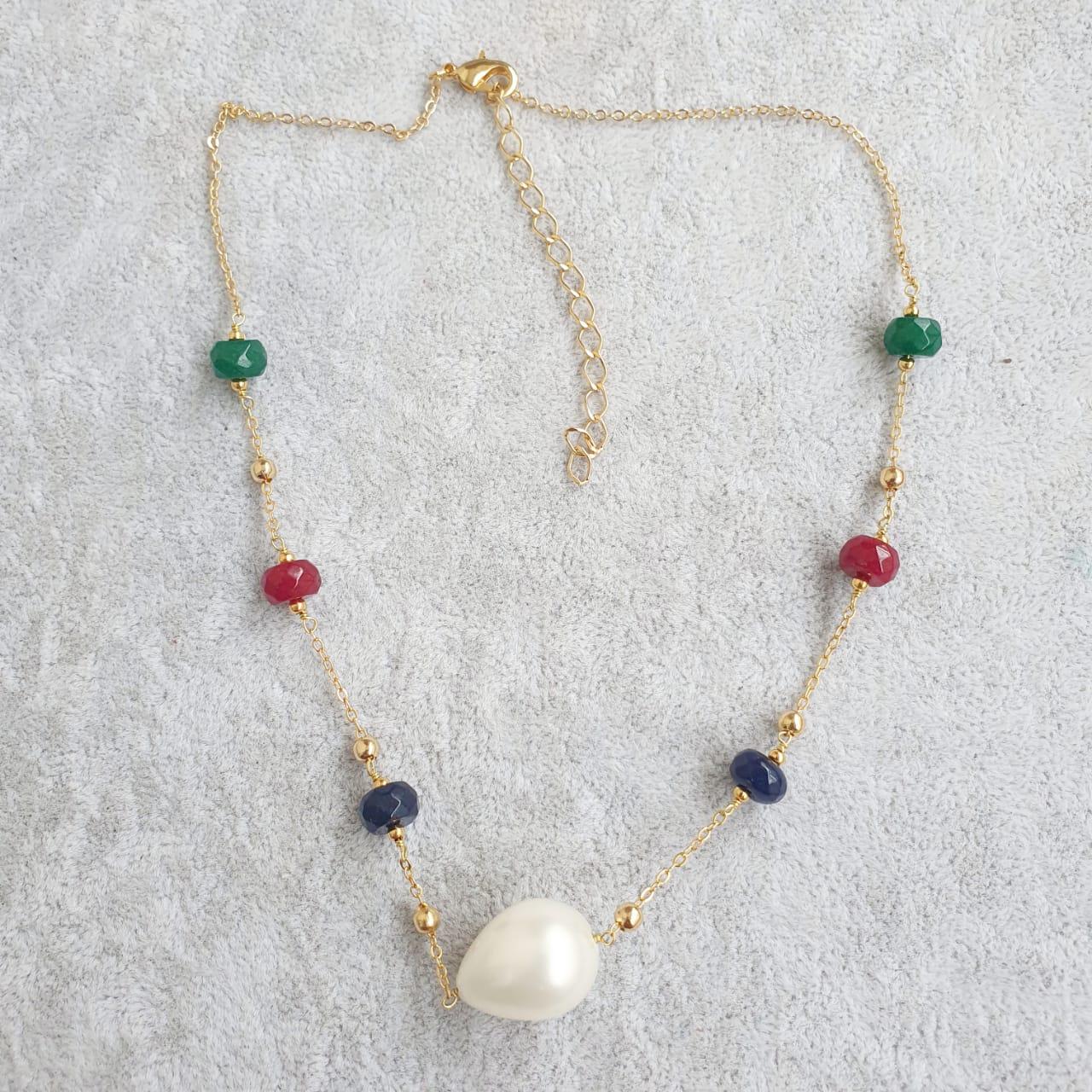 Colar semijoia safira rubi esmeralda perola gota 1618