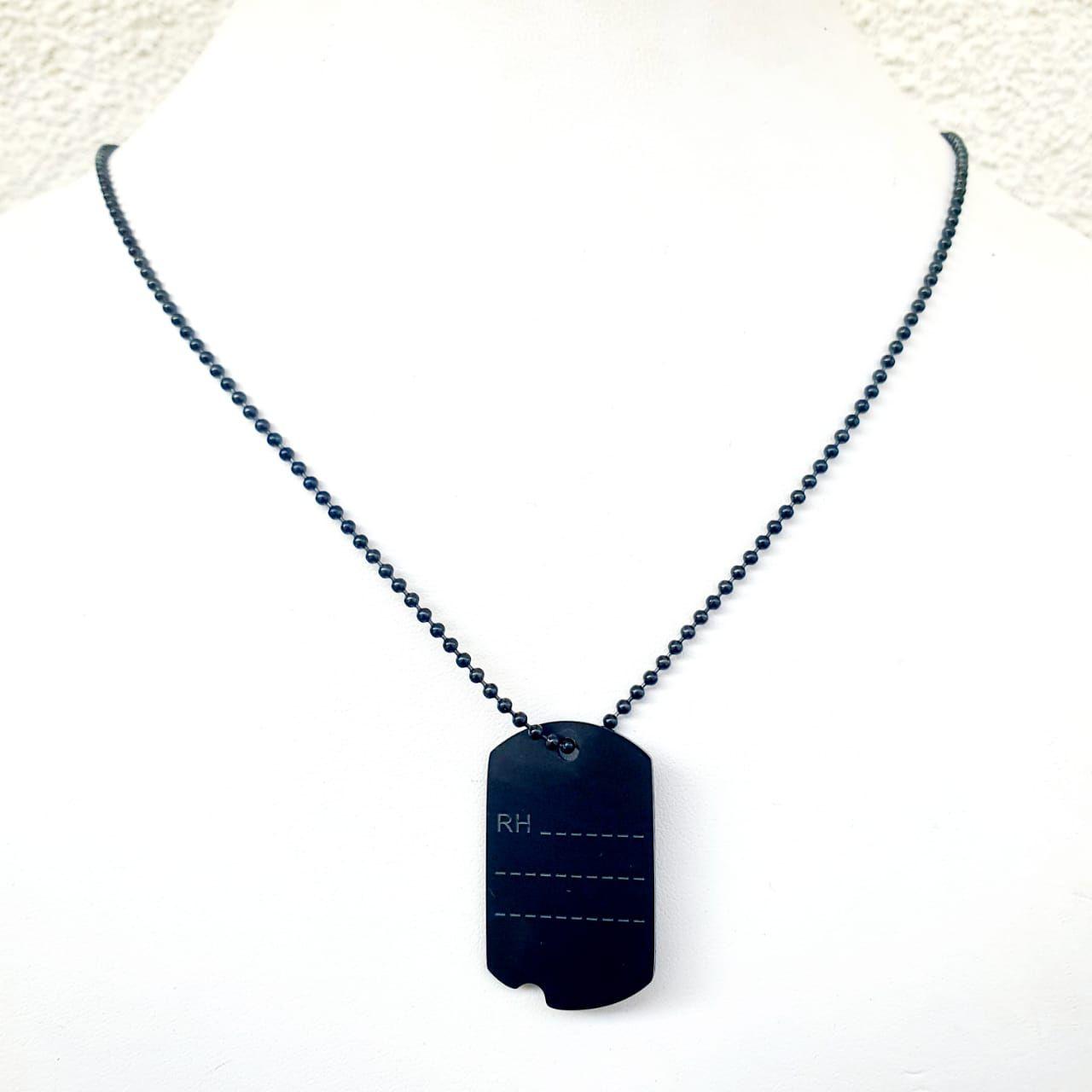 Corrente Masculina de aço placa gravação negra 412460