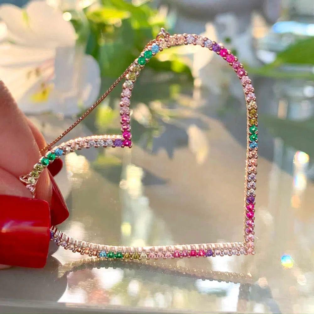 Corrente semijoia coração cravejada zirconias coloridas 137160