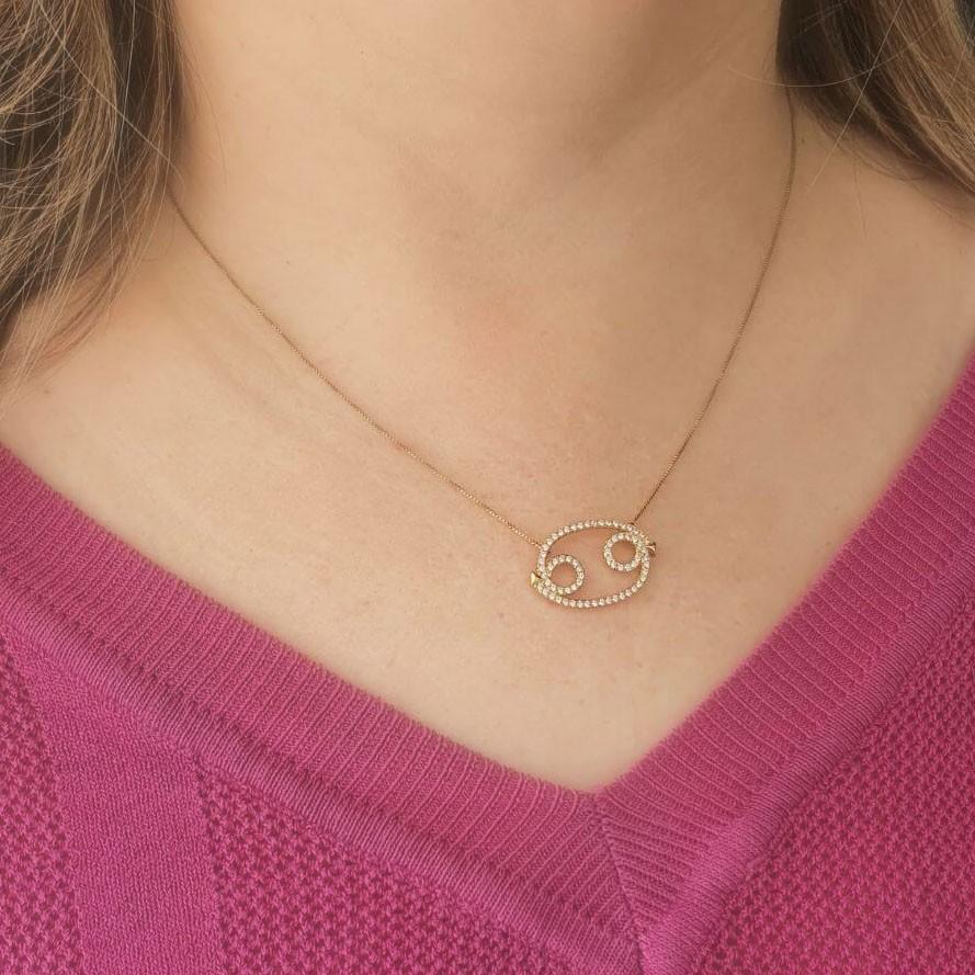 Corrente semijoia simbolo do horoscopo Cancer com zirconia 136880
