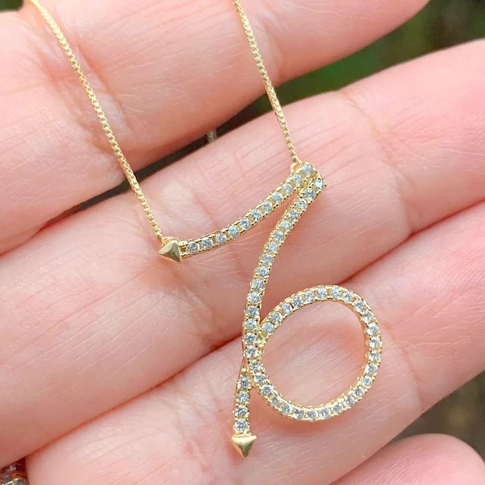 Corrente semijoia simbolo do horoscopo Capricórnio com zirconia 136880