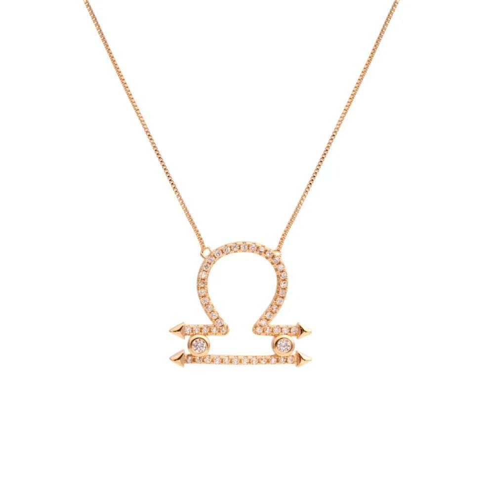 Corrente semijoia simbolo do horoscopo Libra com zirconia 136880