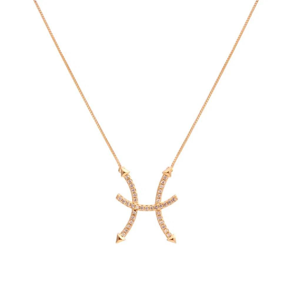 Corrente semijoia simbolo do horoscopo Peixes com zirconia 136880