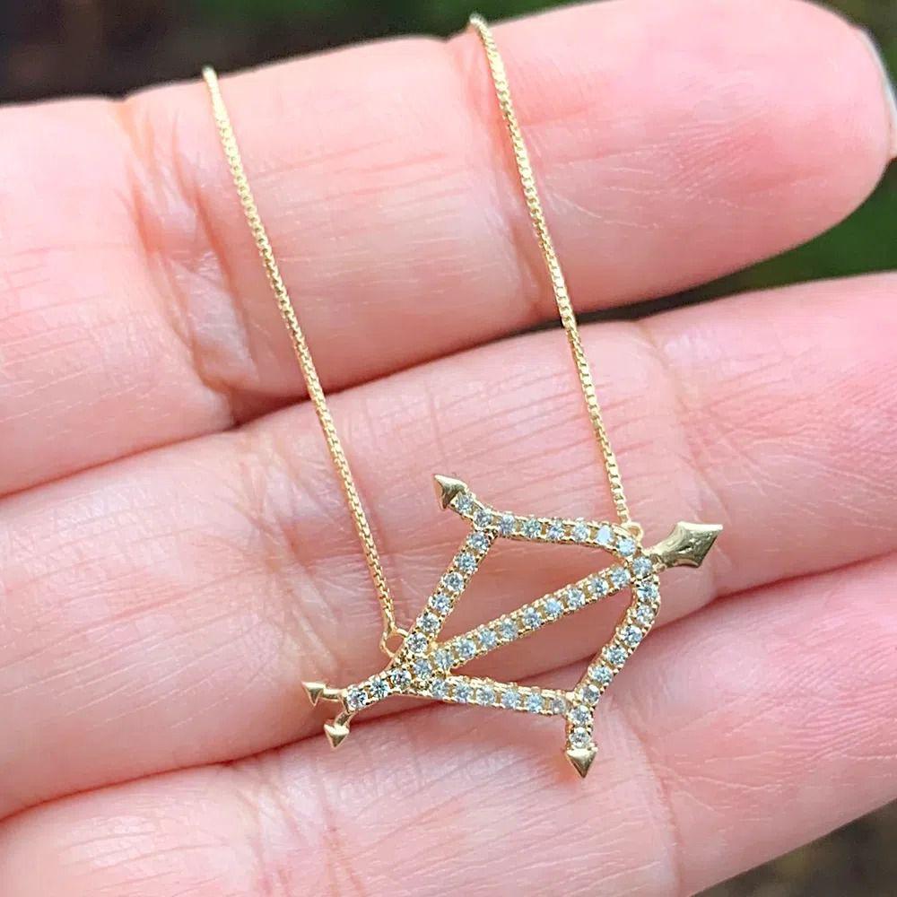 Corrente semijoia simbolo do horoscopo Sagitário com zirconia 136880
