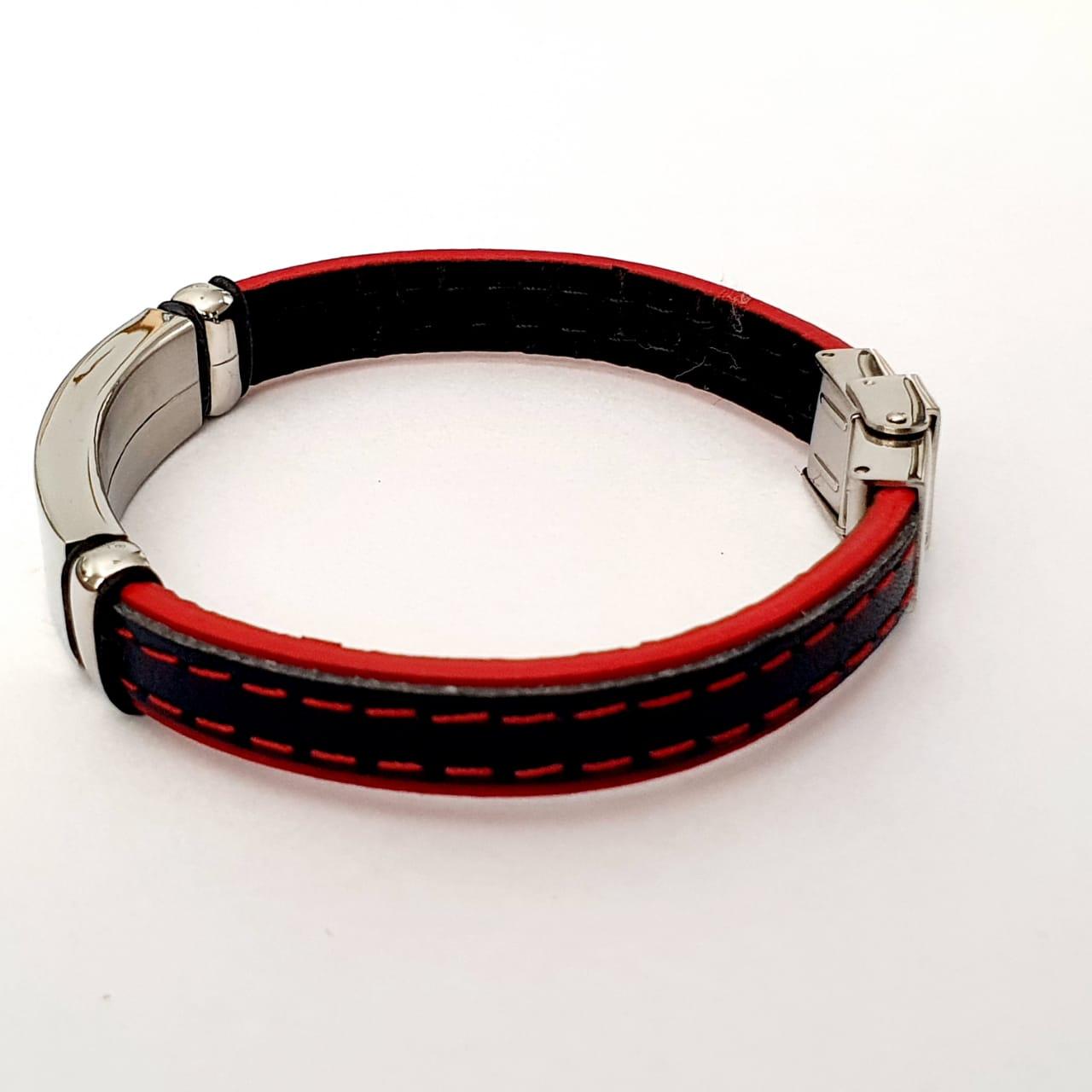 Pulseira Masculina Couro  Vermelho e Azul, placa lisa em aço 316L 2700715