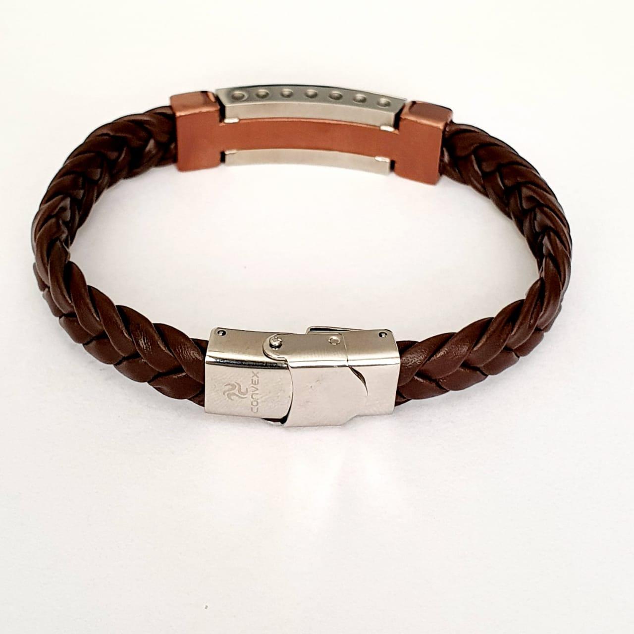 Pulseira Masculina de couro marrom com chapa de aço marrom 2700573