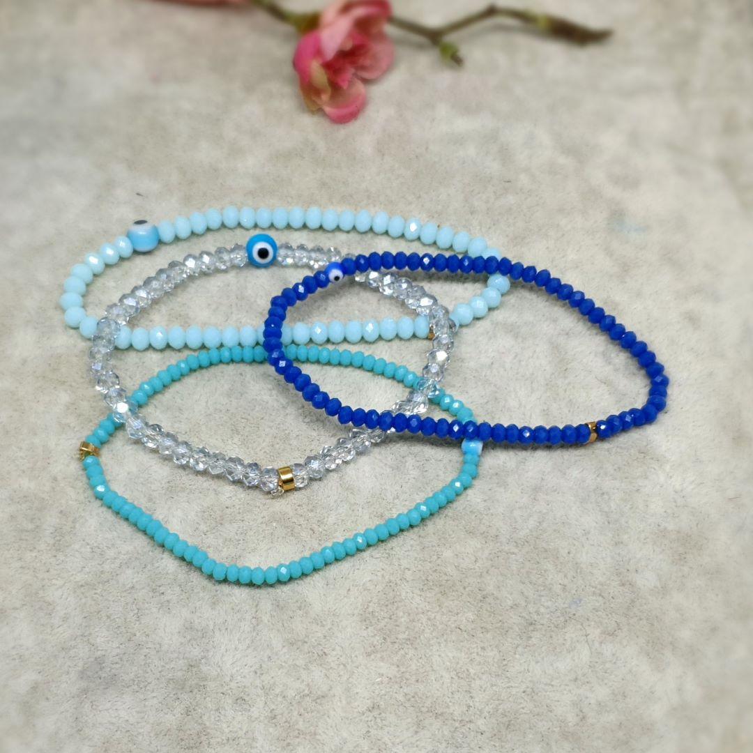 Pulseira Semijoia 4 fios cristal tons de azul 1608