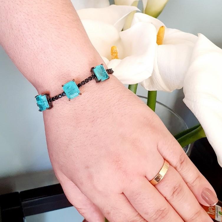 Pulseira semijoia bracelete 3 retangulos 5880
