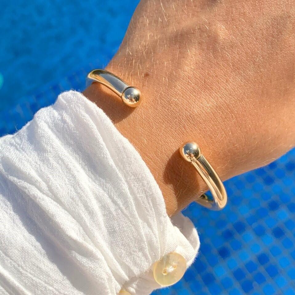 Pulseira semijoia bracelete lisoe aberto 137475