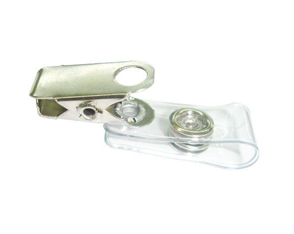 Clips Jacaré de Metal com alça Cristal Transparente (Pacote com 100 peças)
