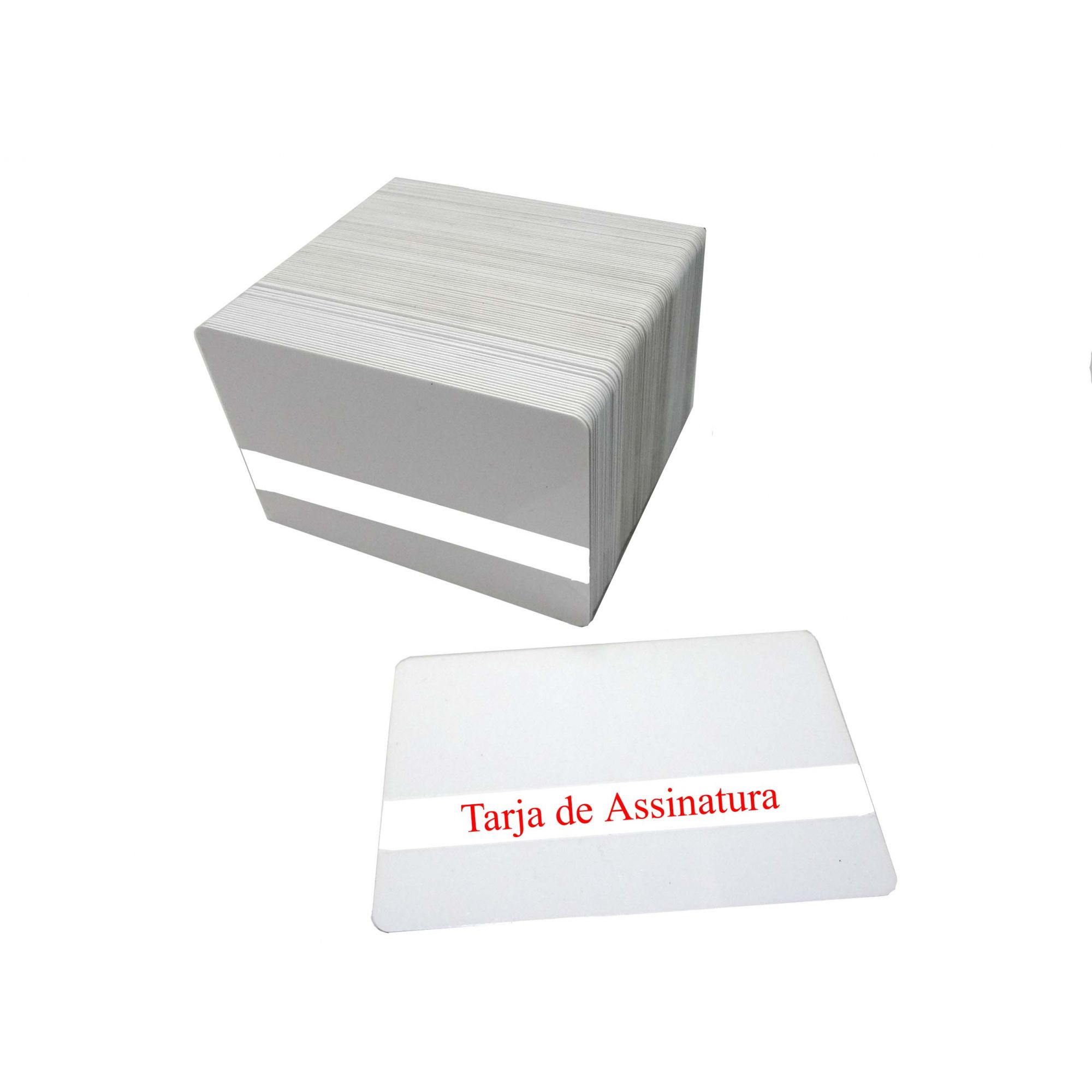 f) Cartão PVC Branco Com Tarja de Assinatura Espessura 076