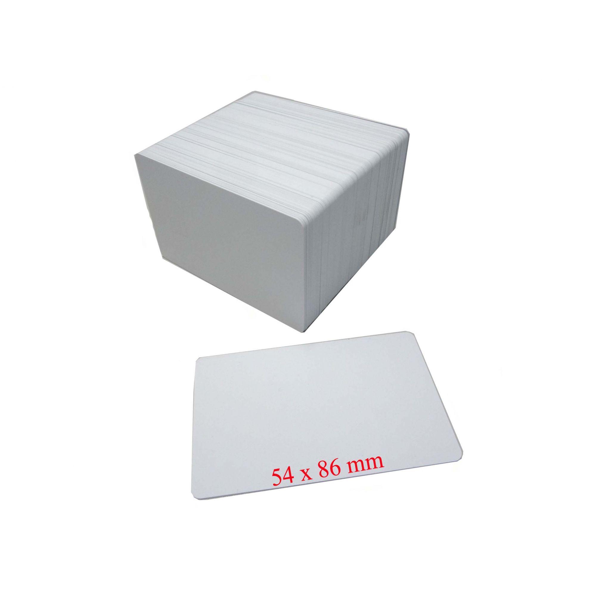 g) Cartão PVC Branco Mifare 1K Espessura 076 Tamanho 54 X 86 mm