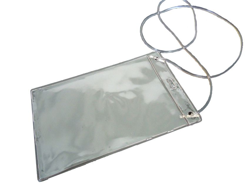 Porta Credencial em PVC Cristal com cordão de Silicone