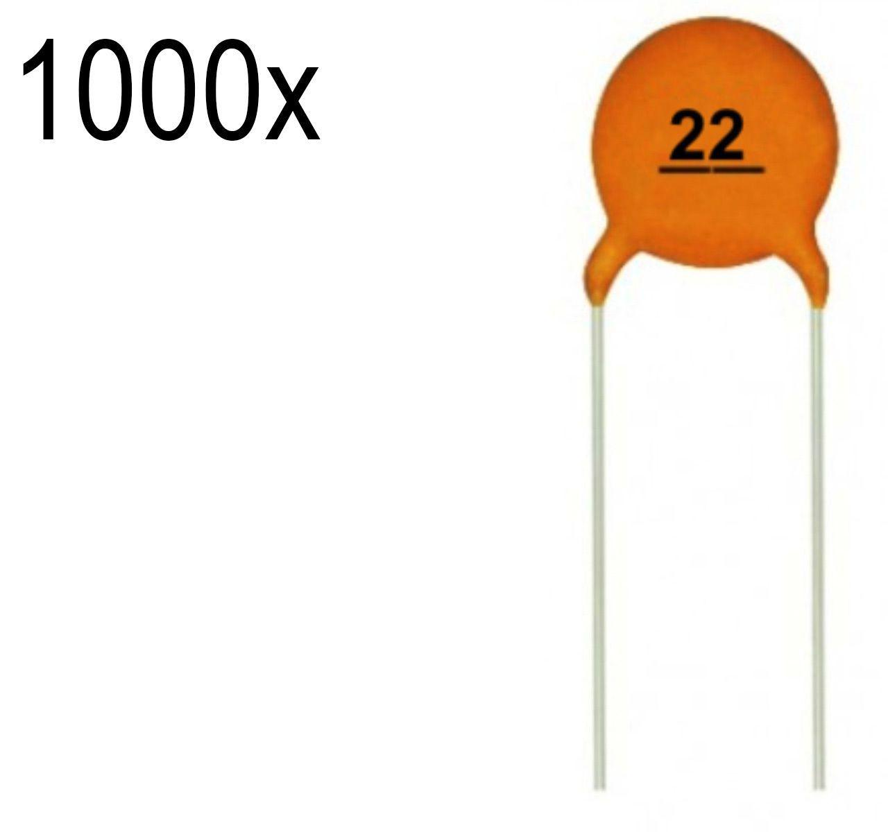 1000x Capacitor Cerâmico / Cerâmica 22pf 50v