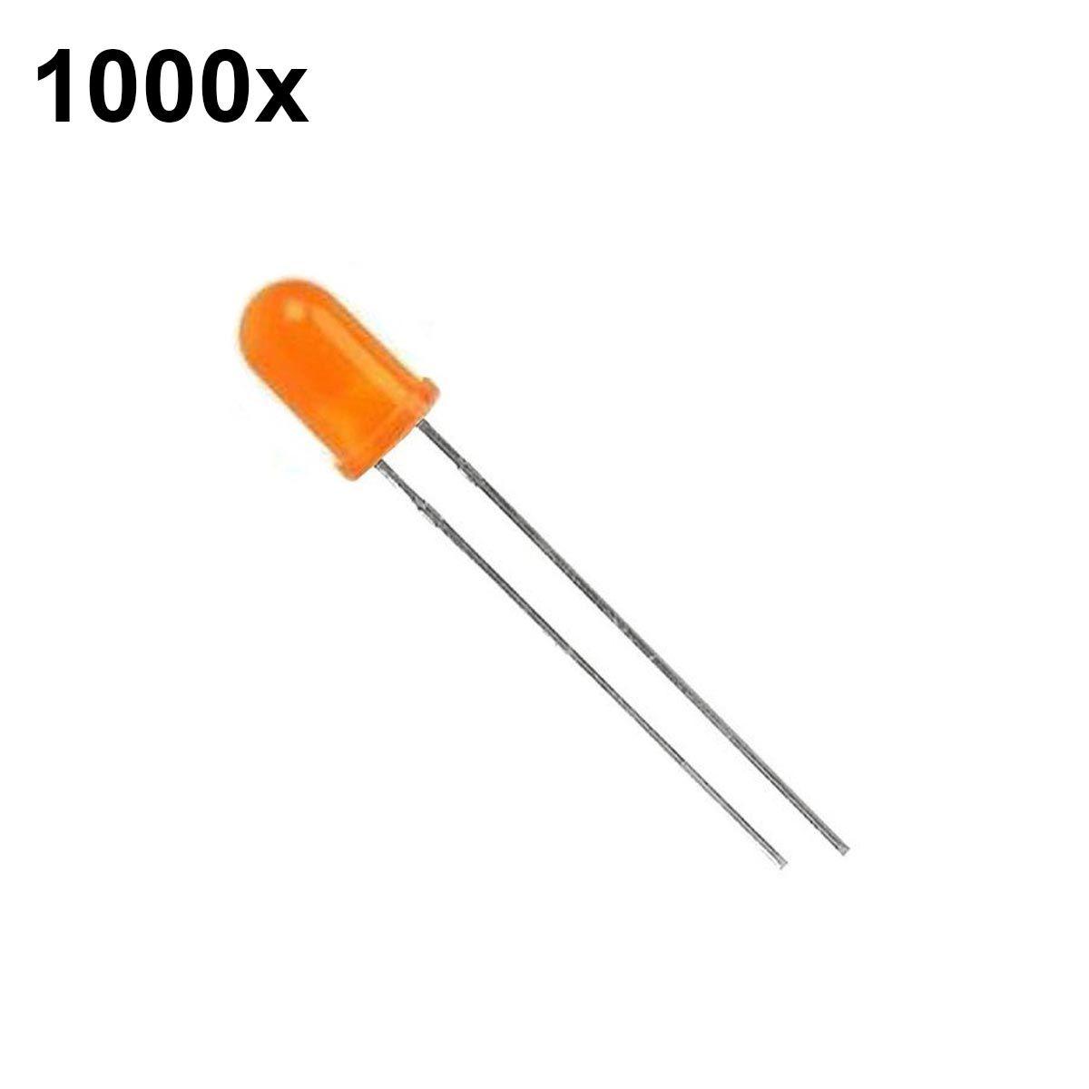 1000x Led Difuso Laranja 5mm