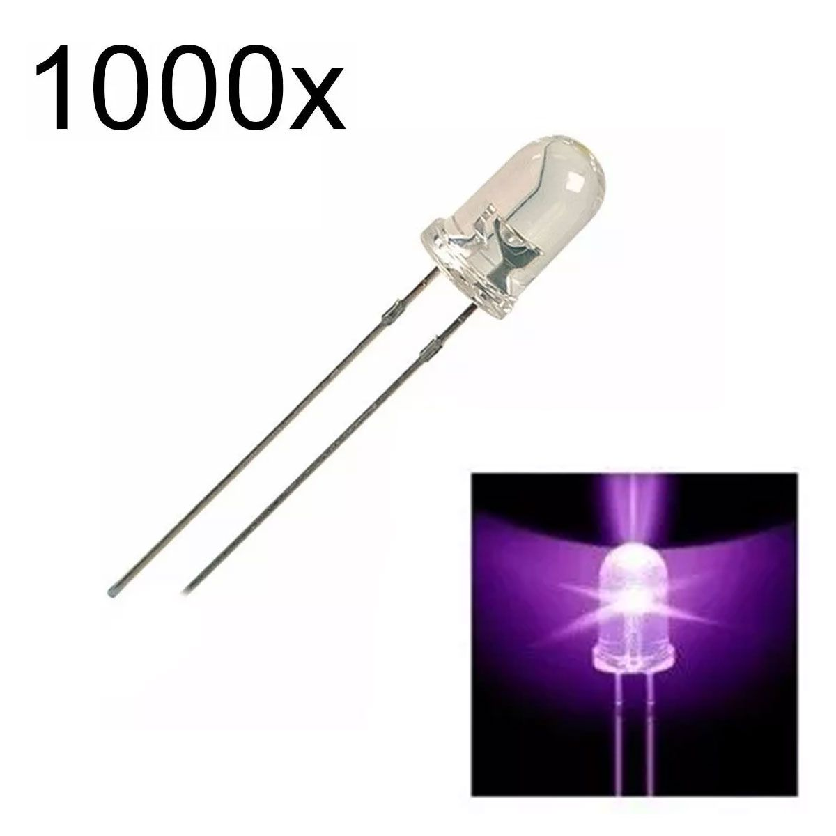 1000x Led Roxo Alto Brilho 5mm