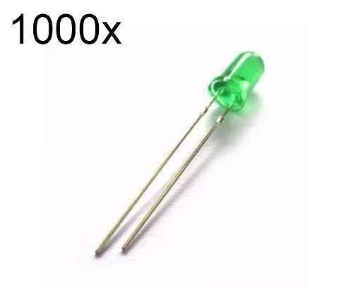 1000x Led Verde Difuso 3mm