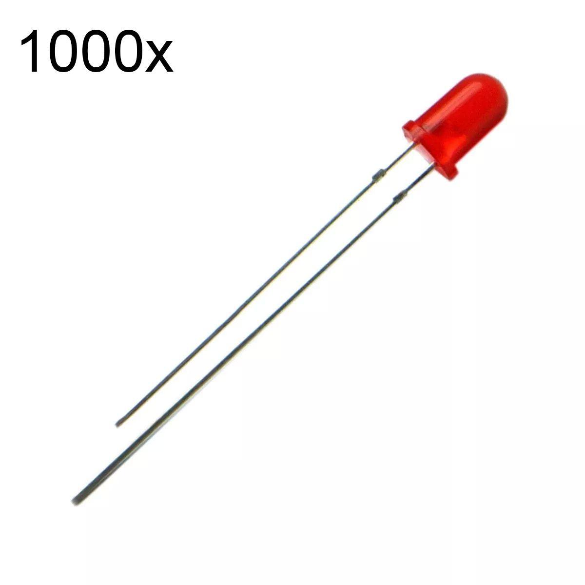 1000x Led Vermelho Difuso 3mm