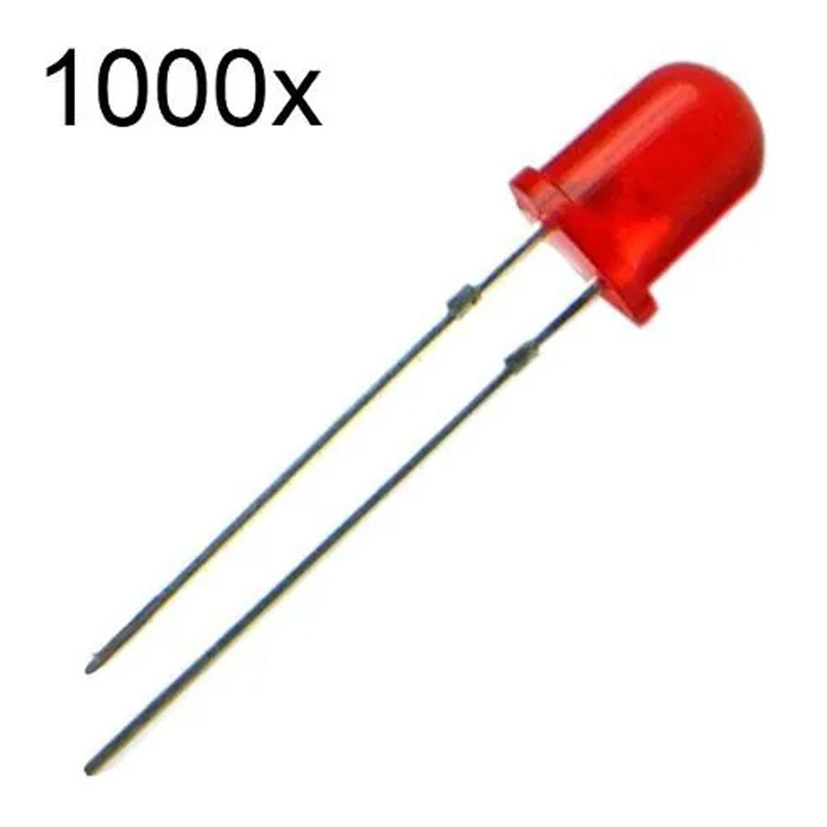 1000x Led Vermelho Difuso 5mm