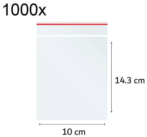 1000x Saco Plástico Zip Lock Hermético 10 x 14.3 cm Nº 5