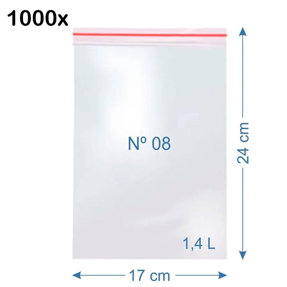1000x Saco Plástico Zip Lock Hermético 24 x 17 cm Nº 8