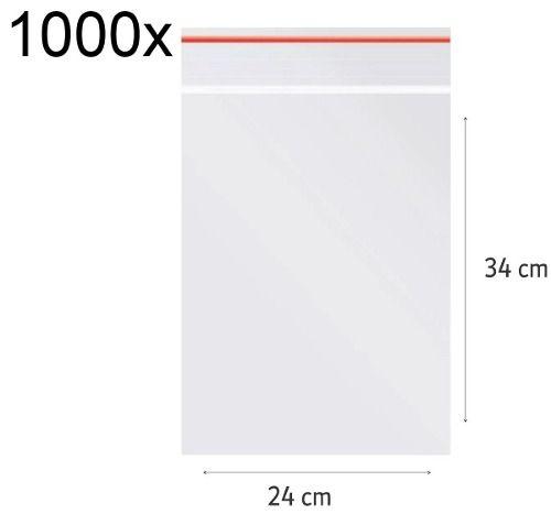 1000x Saco Plástico Zip Lock Hermético 34 x 24 cm Nº 10