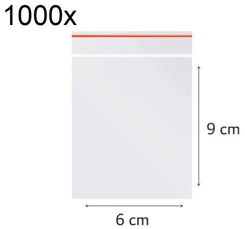 1000x Saco Plástico Zip Lock Hermético 9 x 6 cm Nº 2