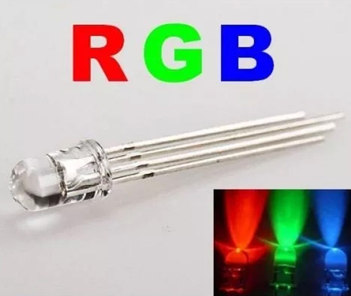100 x Led 5mm RGB 4 Terminais - Catodo Comum