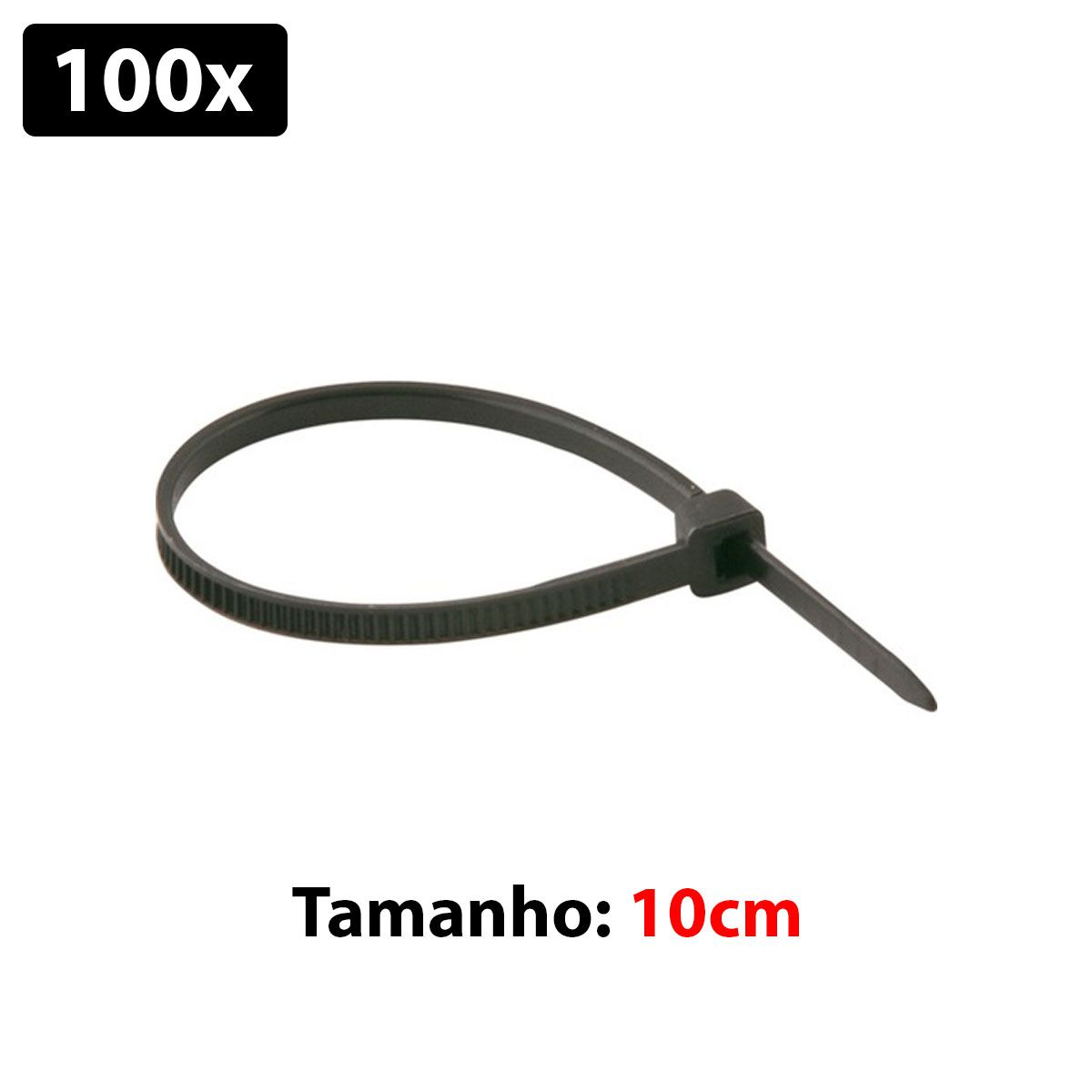 100x Abraçadeira Plástica / Nyllon 2,5mm x 100mm  - Cor Preta - Enforca Gato