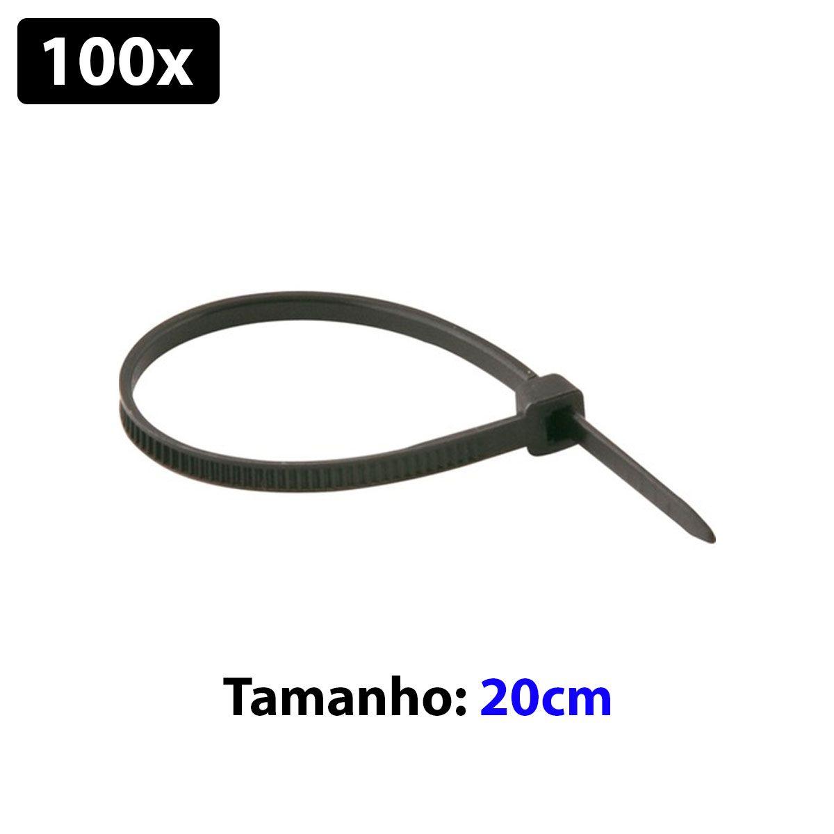 100x Abraçadeira Plástica / Nyllon 2,5mm x 200mm  - Cor Preta - Enforca Gato