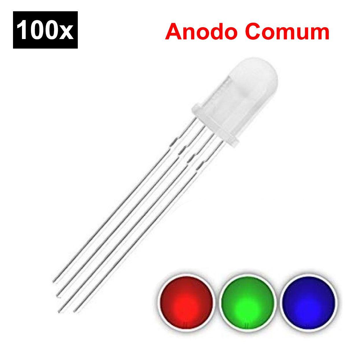 100x Led 5mm RGB 4 Terminais Difuso - Anodo Comum