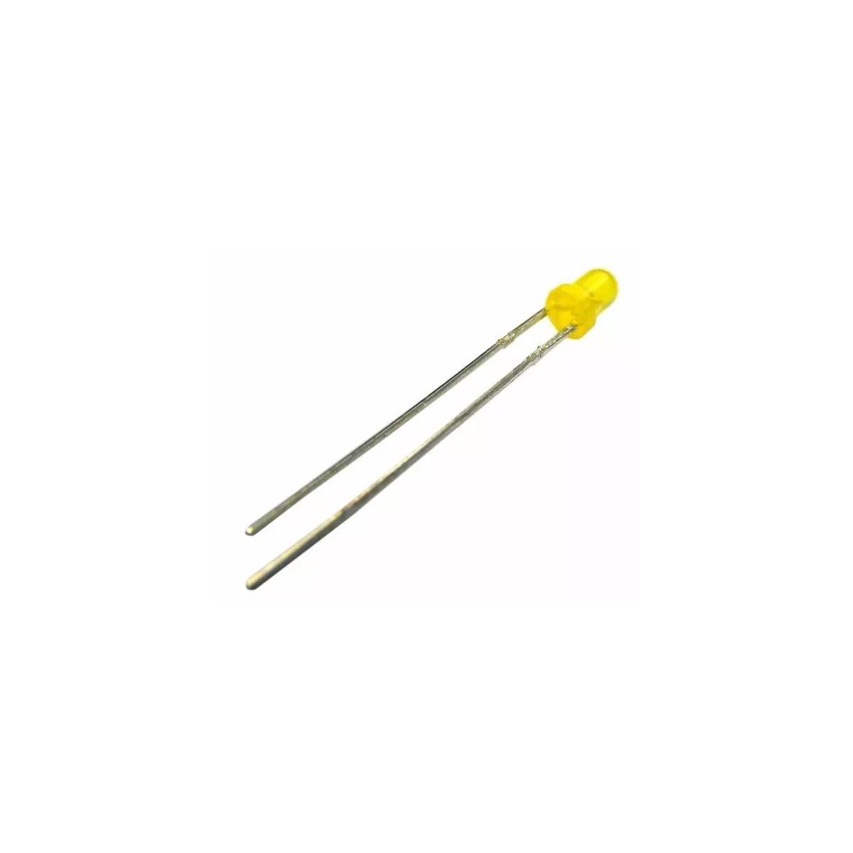100x Led Amarelo Difuso 3mm